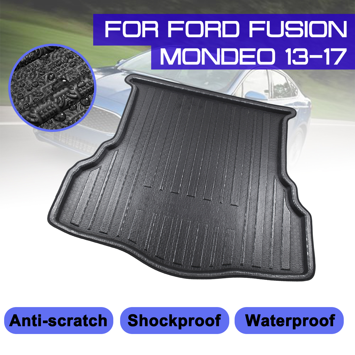 For Ford Fusion Mondeo 2013 2014 2015 2016 2017 Car Rear Trunk Boot Mat Waterproof Floor Mats Carpet Anti Mud Tray Cargo Liner