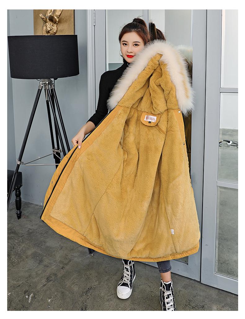 -30 градусов новый 2019 Для женщин зимняя куртка с капюшоном и меховой воротник Женская зимняя обувь Пальто Длинные парки с Меховая подкладка п... 18