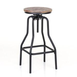 Image 3 - iKayaa Kitchen Furniture Bar Stool Bar Chairs Metal Industrial Stool Height Adjustable Swivel Pinewood Top Pipe Style Barstool