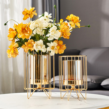 European Glass Vase Office Coffee Desktop Artificial Flower Pot Home Furnishing Decoration Crafts Livingroom Table Ornaments