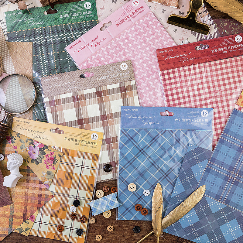 (16 Sheets/lot) Retro Plaid Imitation Cloth Paper Scrap Booking Background Paper Hand Book Collage Decoration Paper Pack