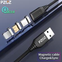 PZOZ Магнитный USB кабель Micro Usb c кабель для быстрой зарядки кабель Microusb type c магнитное зарядное устройство для iphone 8 samsung S9 S10 xiaomi
