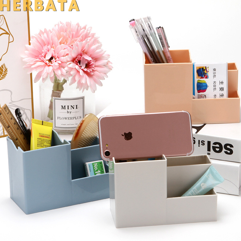 New High Quality PP Pen Pencil Holder Storage Box Creative Phone Holder Desk Decor For Office Home School Oficina Supplies 2519