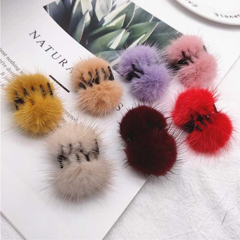 Hairball Women Girls Hair Clip Hair Accessories Furry Hairpin Plush Hair Claw
