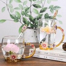 Creative enamel water cup European heat resistant glass family chrysanthemum tea cup lead free set gift
