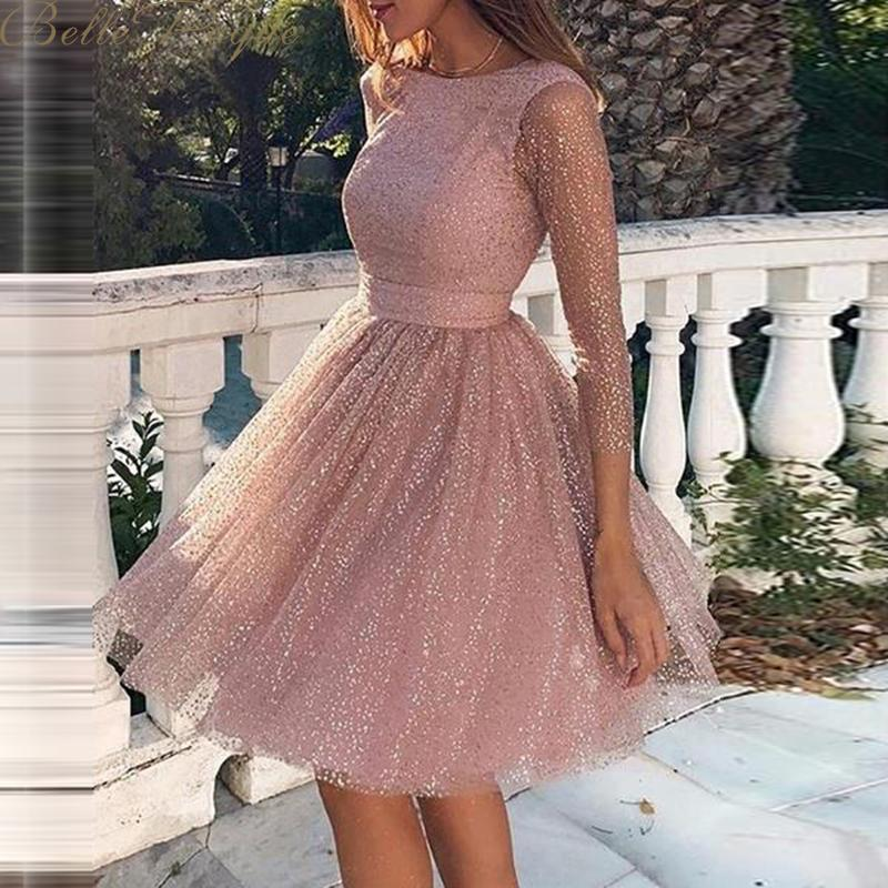 belle poque o neck long sleeve sequined party dresses women Sexy lace streetwear midi dress female 2020 spring dress vestido 3