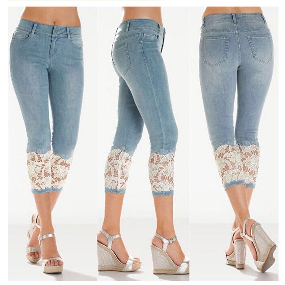 Light Blue Mid Length Women Jeans Lace Shorts Fashion Mom Jeans Office Wear Hot Lace Women Jeans Cropped Pants|Jeans| - AliExpress