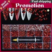 Red Crystal Nail Art Tips Decoration Manicure 3D Acrylic Glitter Rhinestones Gems Beads Mixed Shape Bulk Price