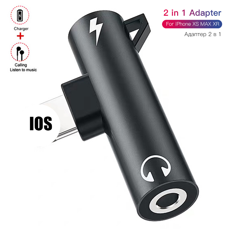 2 IN 1 Audio Headphone Charging Dual Adapter Splitter For <font><b>iPhone</b></font> 11 X XR XS 7 <font><b>8</b></font> For 3.5mm Jack to Earphone AUX Cable <font><b>Connector</b></font> image