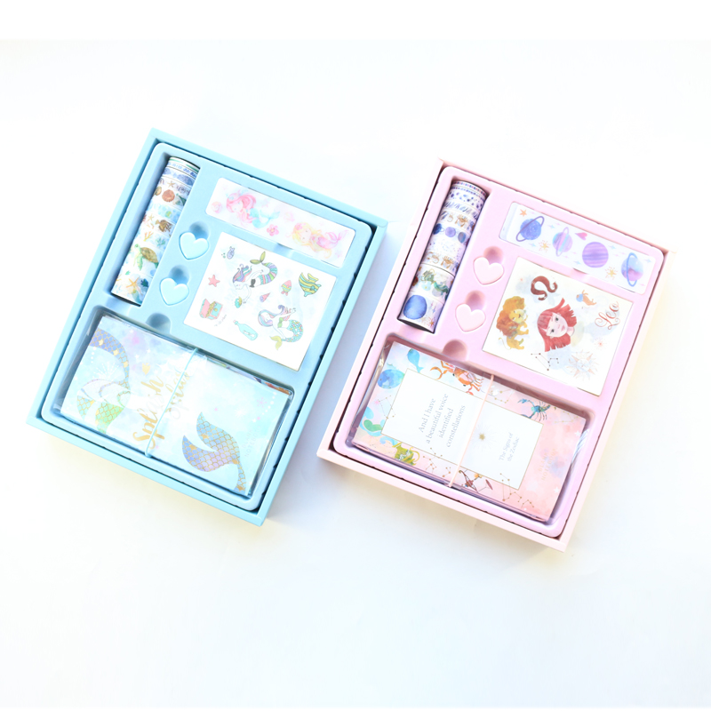 Domikee New Korea Cute Kawaii Transparent PVC Bullet Journal And Notebooks With Tapes Stickers Clips Stationery Set Gift Swrap