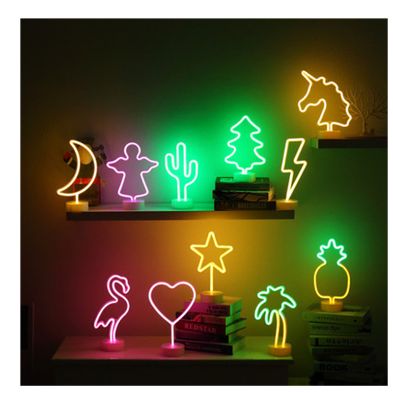 Ins Creative Christmas USB LED Neon Night Light Unicorn Rainbow Flamingo Night Light Double Sided LED Halloween Baby Gift
