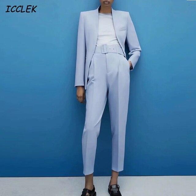 Za Women's Pants Suit Office Blazer Solid Jackets Elegant Coat Female 2 Piece Set 2021 Slim Outfit With Belt High Waist Trousers 1