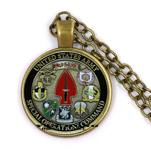 цена на American Army Special Operations Command's pari pari coins have collection significance, fashionable metal necklace and glass pe
