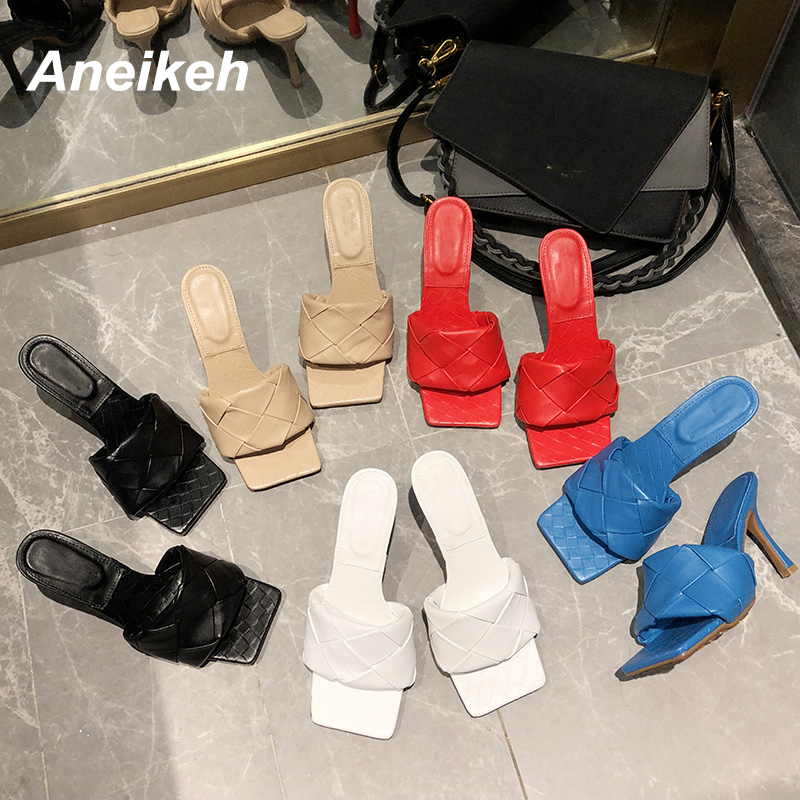 Aneikeh NEW 2020 Fashion Square Head Woven Surface Women Sandals Peep Toe High Heels Sandals Lady Slippers Party Shoes 35-39