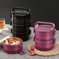 Портативный термо Ланч-бокс из нержавеющей стали 304 большой емкости  многослойный ТЕРМОС BPA Box  бесплатный контейнер для еды