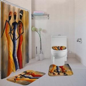 Image 5 - Dafield Africano Tenda Della Doccia Set 4 Pcs Bagno Tappetini Set Da Bagno Zerbino Set Accessori Per il Bagno Con Ganci