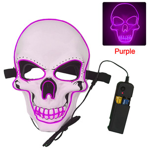Image 5 - Halloween Mask Neon Masks LED Scary Skull Masque Skeleton Horror Maske Masquerade Party Mascara Glowing Carnival Masker Cosplay