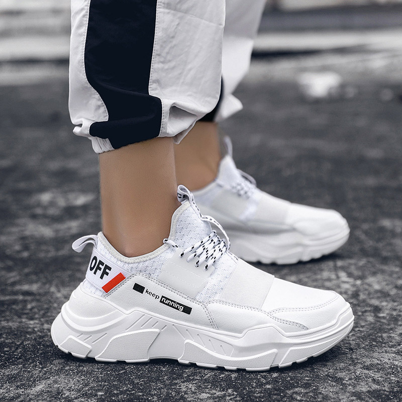 Men Sneakers Breathable Casual Shoes Men Lace up Comfortable Shoes Sneakers Men Tenis Masculino Sneakers White Shoes Plus Size