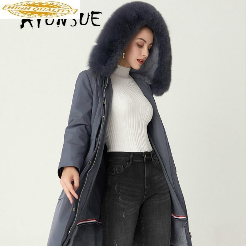 Real Fur Coat Women Rex Rabbit Fur Coat Women Hooded Korean Real Fur Parka Warm Winter Coat Women TJ-191688 YY1582