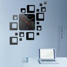 Съемные современные зеркальные акриловые настенные часы с наклейкой