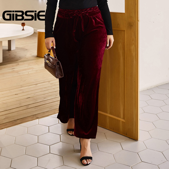 GIBSIE Autumn Winer Solid Velvet Wide Leg Pants Women Plus Size Ruffles High Waist Trousers Casual Ladies Big Size Belt Pants 1