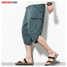 Sincism Store Japan Solid Color Men Summer Wide Leg Pants Man Casual Calf-length Pants 2020 Male Baggy Harem Pants 5XL cheap PRIVATHINKER Flat COTTON Linen NONE Loose 2020 Casual Pants Men Midweight Broadcloth Drawstring Chinese Traditional Clothes Costumes