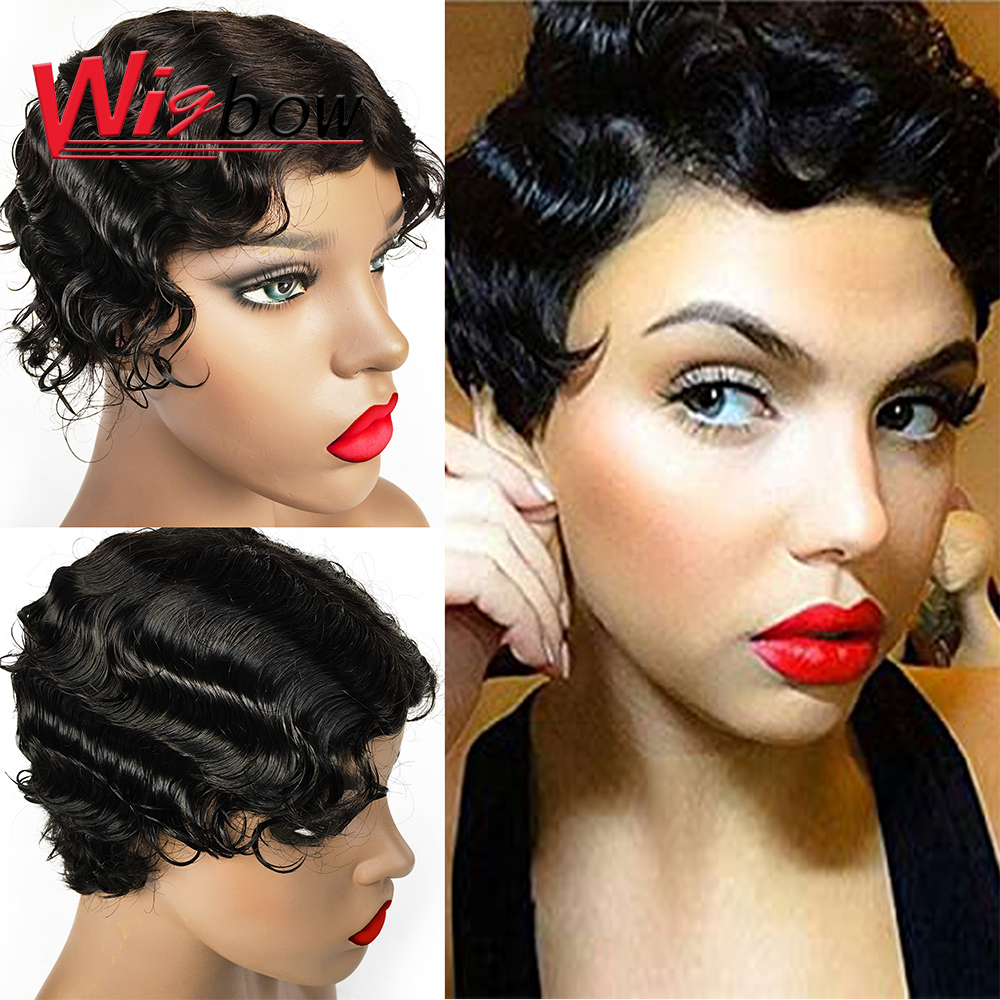 Short Finger Wave Wigs Short Human Hair Wigs Pixie Cut Wig Natural/99j/F4/30 Color Lace Human Hair Wigs For Black Women