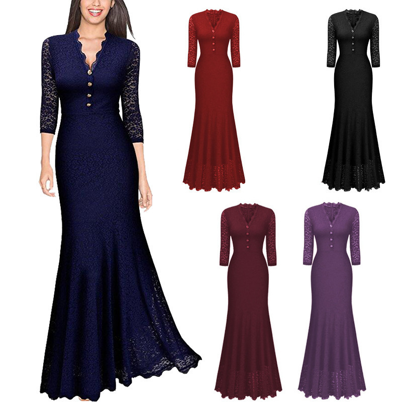 BGW 2021021ht Lace Mermaid Mother Of The Bride Dresses Three Quarter Sleeves Wedding Guest Cheap 2020 Mom Dress Free Shipping