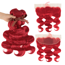 Remy Forte Body Wave Hair Bundles With Closure Red Frontal Brazilian Weave 3/4