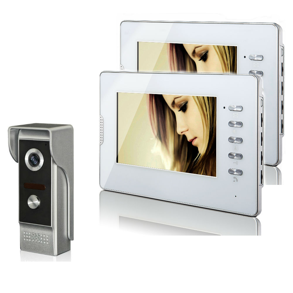 """7/"""" TFT LCD Monitor Wired Color Video Door Phone Doorbell Home Intercom System"""