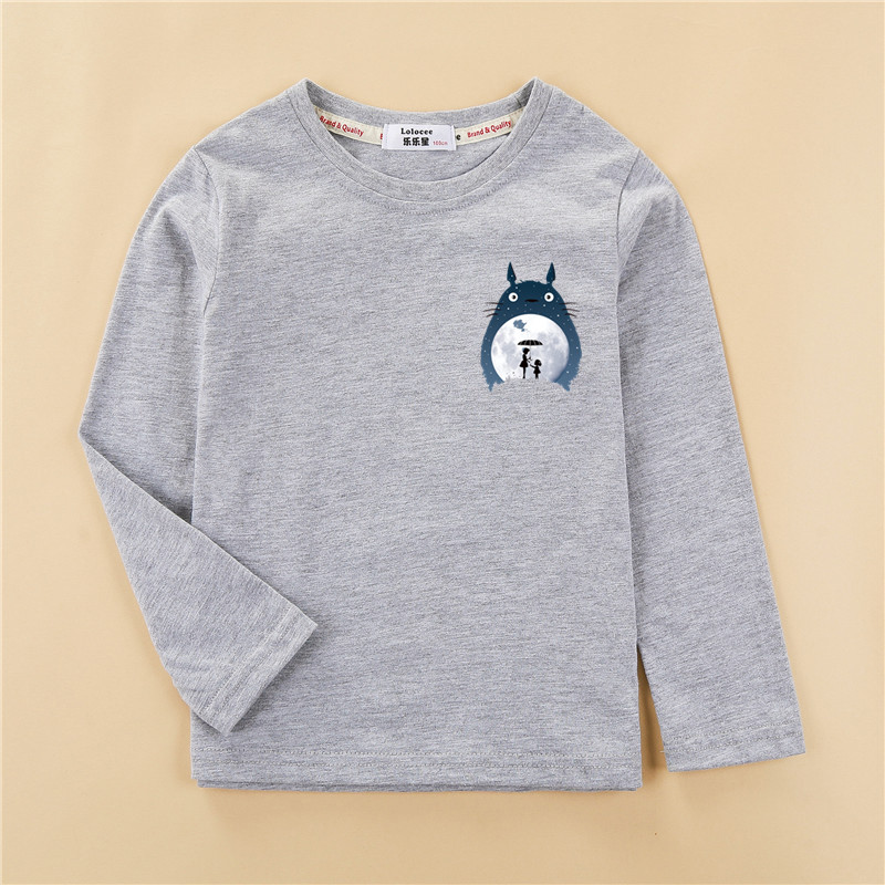 Totoro Tops Kids Autumn Long Sleeve T-shirt 100% Cotton Home Clothes Boys Girls Brands Spring Tees Costume 3