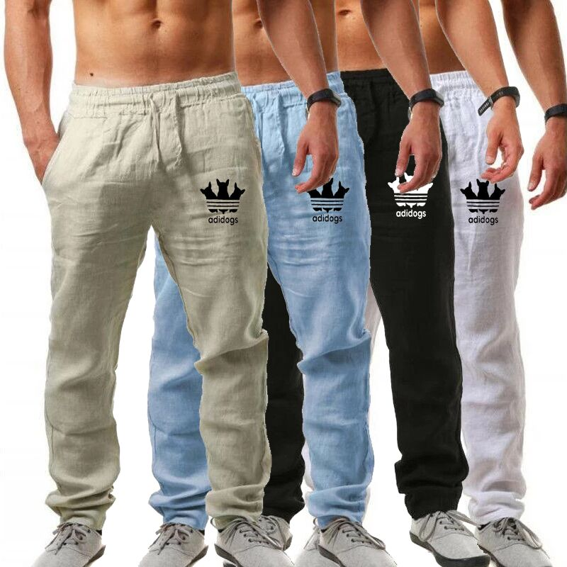 New Trousers Men's Casual Trousers Spring And Summer Sports Running Cotton And Linen Pants Printed Cotton Cloth