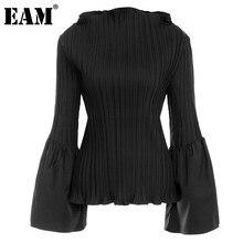[EAM] kobiety czarny plisowany Stitch T-shirt w dużym rozmiarze nowy okrągły dekolt długi, rozszerzony rękaw moda fala wiosna jesień 2021 1DD0022