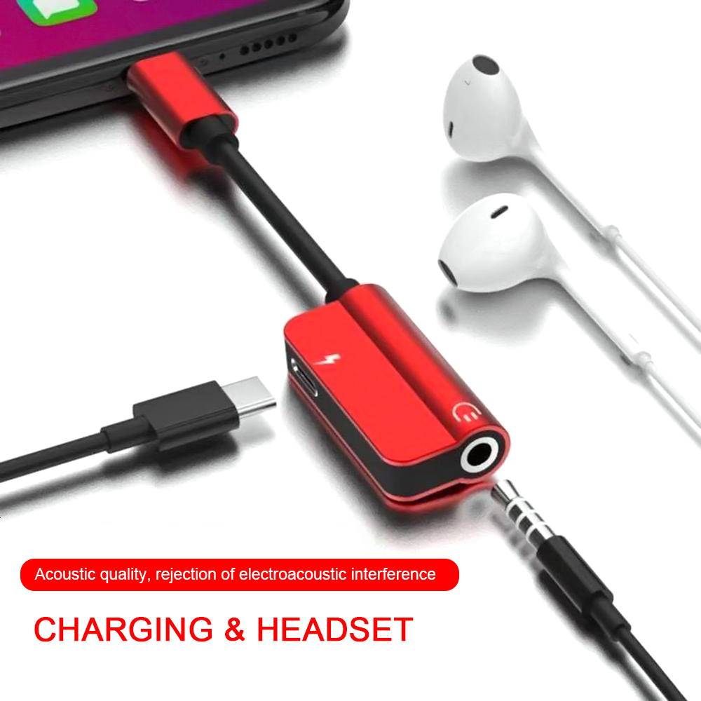 Dual Type-C Two In One Adapter For Xiaomi Huawei Mobile Headset Charging Adapter