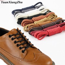 Cadarços redondos de algodão à prova d'água, 1 par de cadarços encerados, para sapatos, fecho de couro, comprimento de 60cm 80cm 100cm 120cm 140cm 180cm