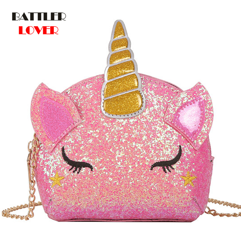 Flash Unicorn Flap Handbags Womens PU Leather Crossbody Bags Summer Phone Bags Casual Sling Chain Messenger Ladies Shoulder Bags