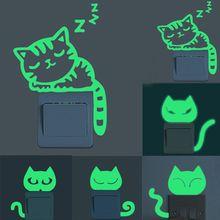 1pcs Green-light Luminous Switch Sticker Cute Cartoon Cat Glowing Wall Stickers Dark Glow Decoration Free Shipping