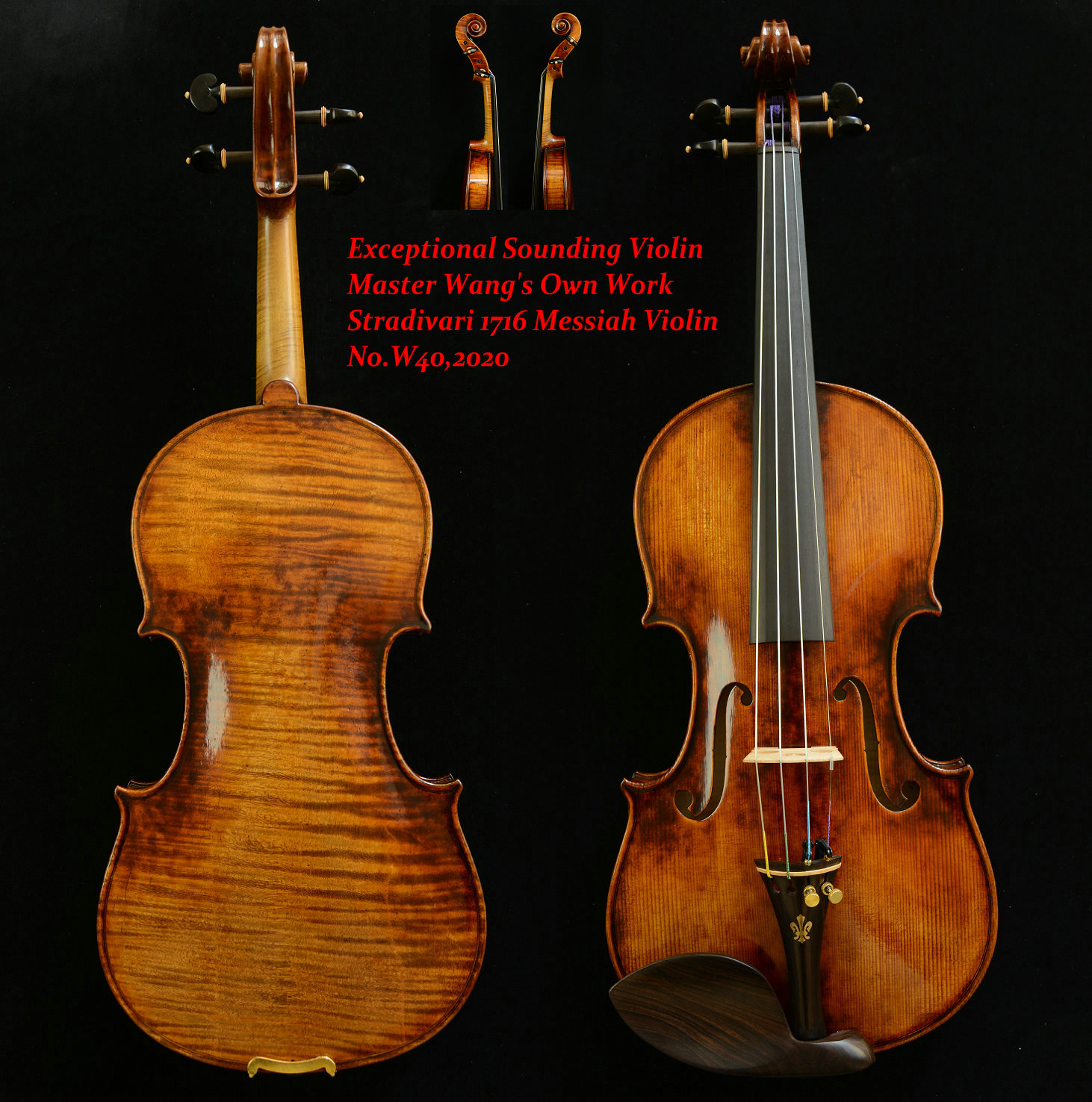 Violin Master-Wang's Old-Spruce 200-Y Photo-Exceptional Own-Work Actual No.w40 Sounding