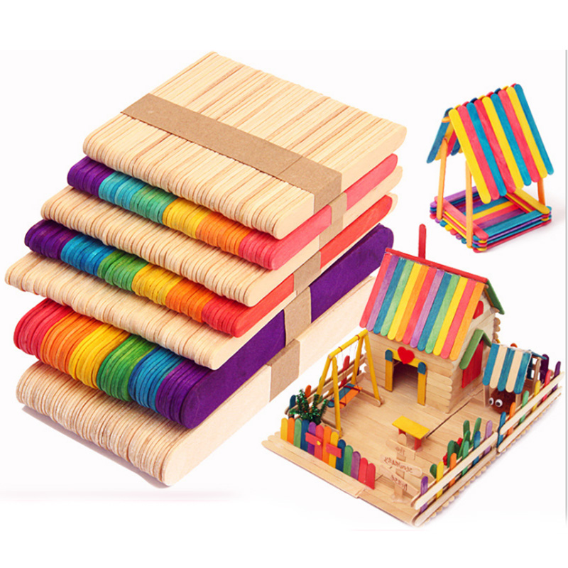 50Pcs/Lot Wooden Craft Ice Cream Sticks Pop Popsicle Sticks Natural Wood Cake Tools DIY Kids Handwork Art Crafts Toys