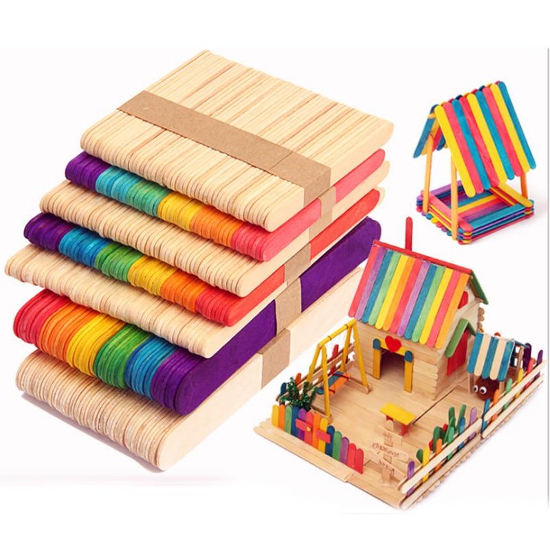 50Pcs/Lot Wooden Craft Ice Cream Sticks Pop Popsicle Sticks Natural Wood Cake Tools DIY kids Handwork Art Crafts Toys