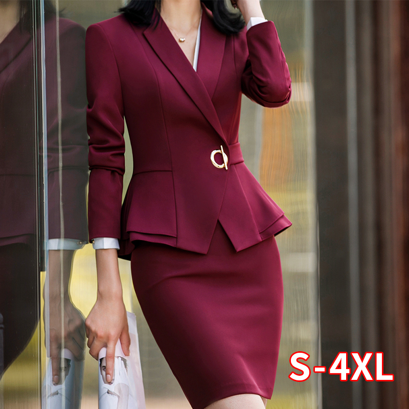Elegant Women Suit Skirt Office Lady Formal Ruffle Waist Jacket+Skirt 2 Pcs Set Jacket Skirt Suit