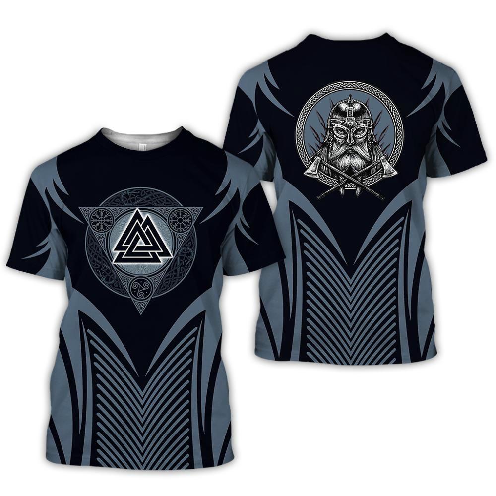 2020 latest Viking symbol printed T-shirt men's summer short-sleeved Harajuku T-shirt men's street hip-hop unisex T-shirt top 01 5