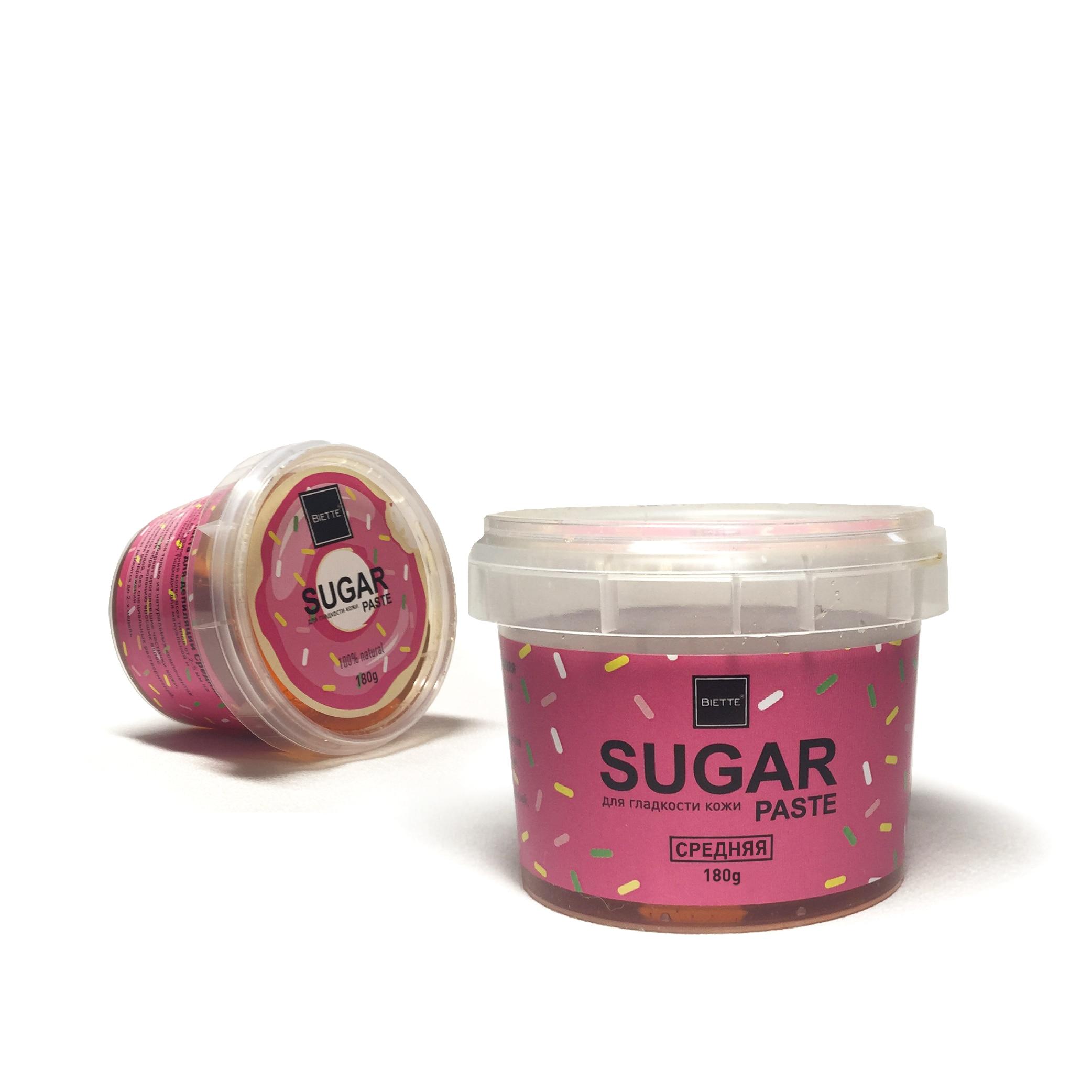 BIETTE Сахарная паста для шугаринга Средняя, 180 гр / Комфортное удаление волос в домашних условиях