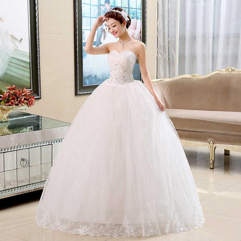 במלאי חתונת שמלה אלגנטי קריסטל נסיכת כלה כדור שמלת סטרפלס ארוך חתונת שמלות HS101 יותר סגנונות עמילות