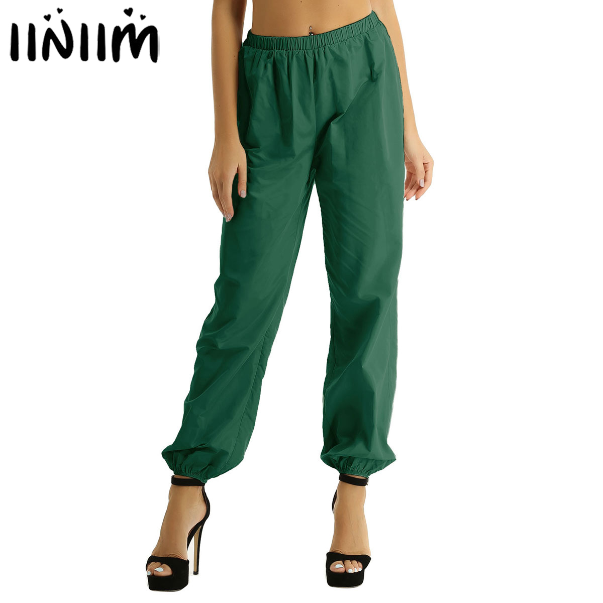 Iiniim Women Ladies Solid Pants High Waist Elastic Waistband Casual Loose Long Ripstop Pants For Dance Hiking And Working Out