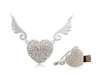 Angel Heart Hot Sale Fashion Jewelry Usb Flash Drive 1TB Gift 16gb 32gb Menory Card Pen Drive 2TB Pendrive 64GB USB Stick Key
