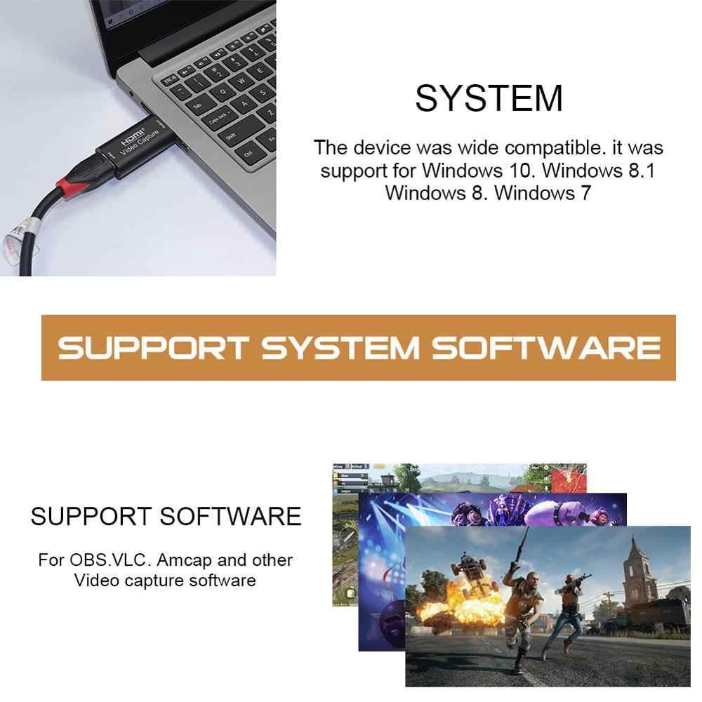 Mini Video Capture Card USB 2,0 HDMI Video Recorder Adapter Box Für Spiel DVD Camcorder HD Kamera Aufnahme Live-Streaming CSV