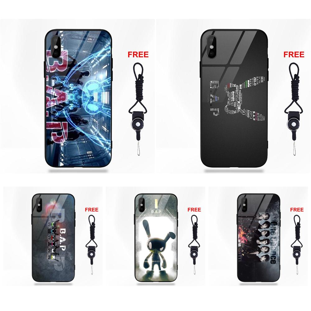Drawing Soft TPU Frame+Tempered Glass For Apple <font><b>iPhone</b></font> 5 5C 5S SE 6 6S 7 8 Plus X XS Max XR B.a.p Fashion <font><b>Kpop</b></font> Enjoy image