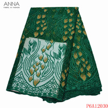Mesh-Fabric Lace African-Net Embroidered Nigerian Anna Green Stones Party-Dresses French