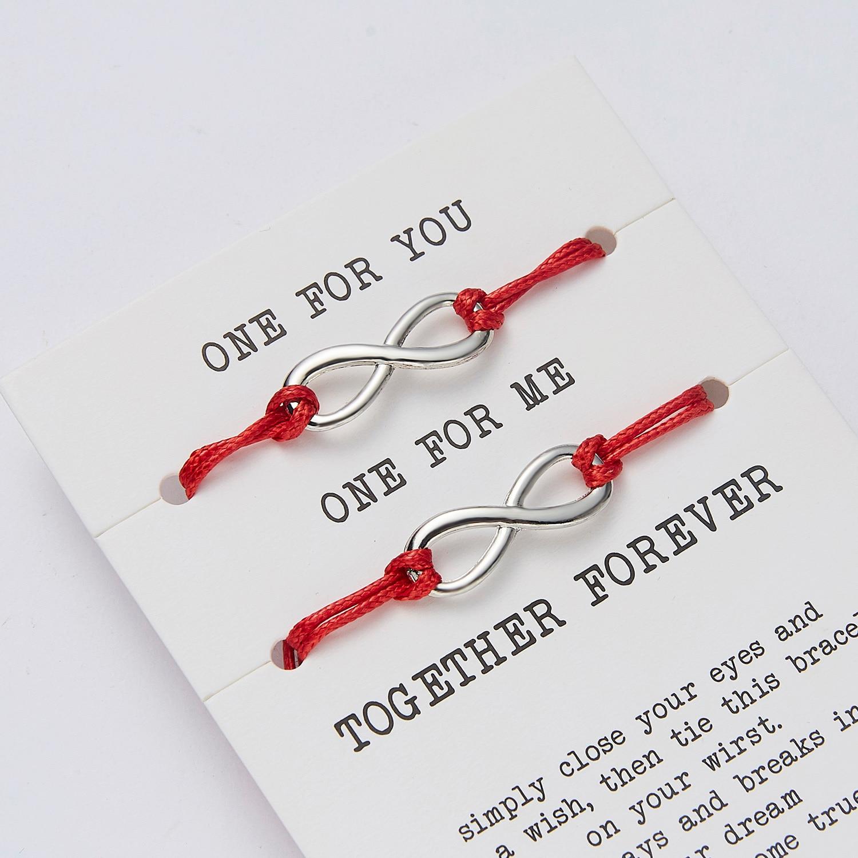 2 шт./компл. один для вас один для меня вместе вечная любовь бесконечность 8 браслет с подвесками красная нить пара браслетов влюбленные поже...
